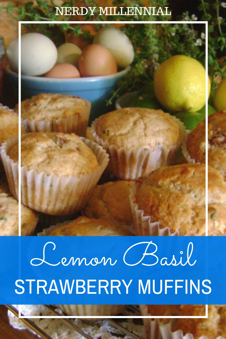 """Basil's In Season"" Lemon Basil Strawberry Muffins - The lemon basil I use to make these muffins smells like fresh lemon drop hard candy when picked straight out of the garden."