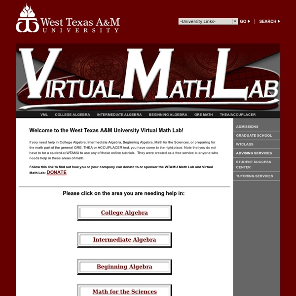 COLLEGE MATH HELP WEBSITES