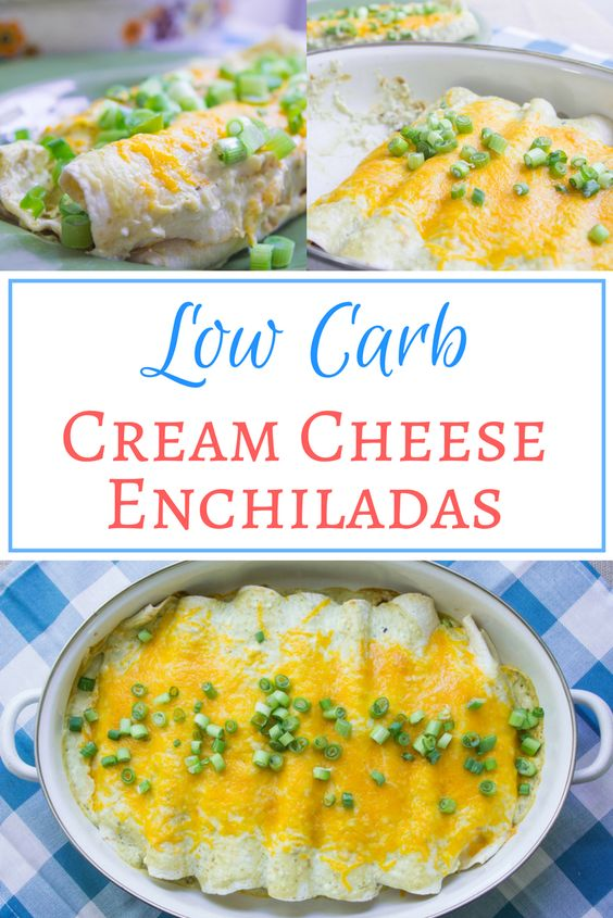 Low carb cream cheese enchiladas - an awesome low carb dinner recipe! The great thing about these enchiladas is that you won't know the difference between these low carb enchiladas and traditional enchiladas.