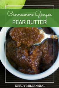 Cinnamon Ginger Pear Butter Recipe This recipe is great because it requires very little work in my opinion since all of the cooking is done in the crockpot. You'll need to check on it from time to time, but most of the work is done for you.