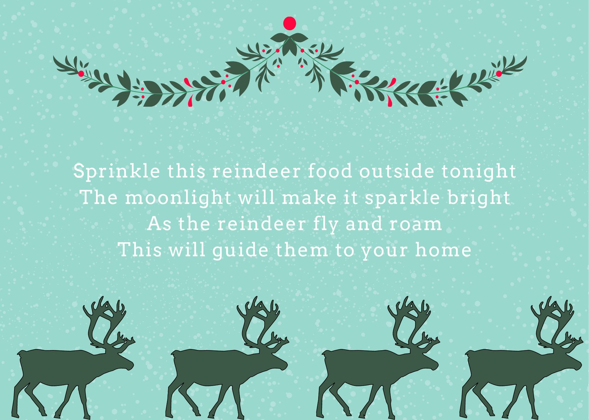 Free printable magic reindeer food poem card